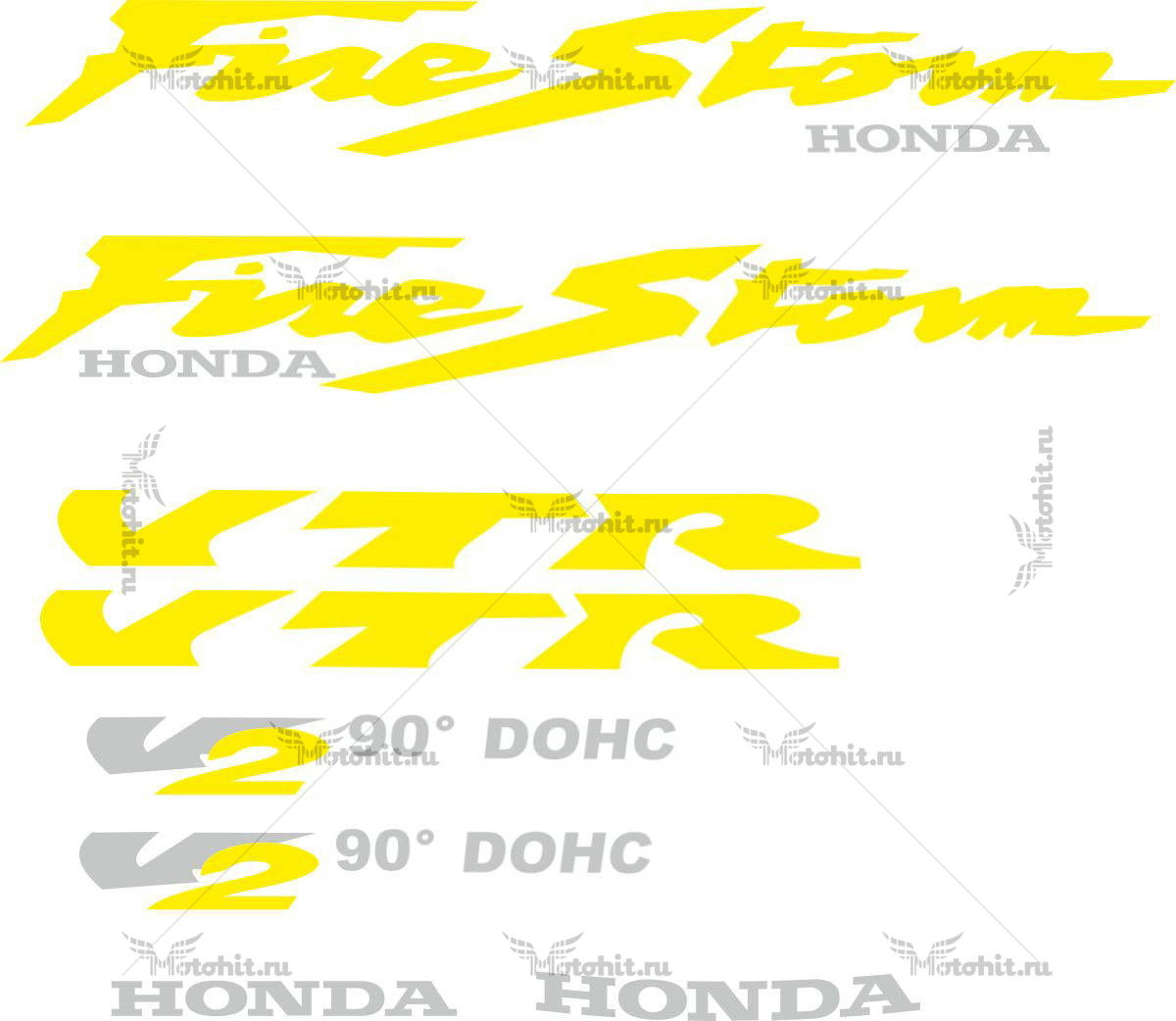 Комплект наклеек Honda VTR-FIRESTORM-YELLOW