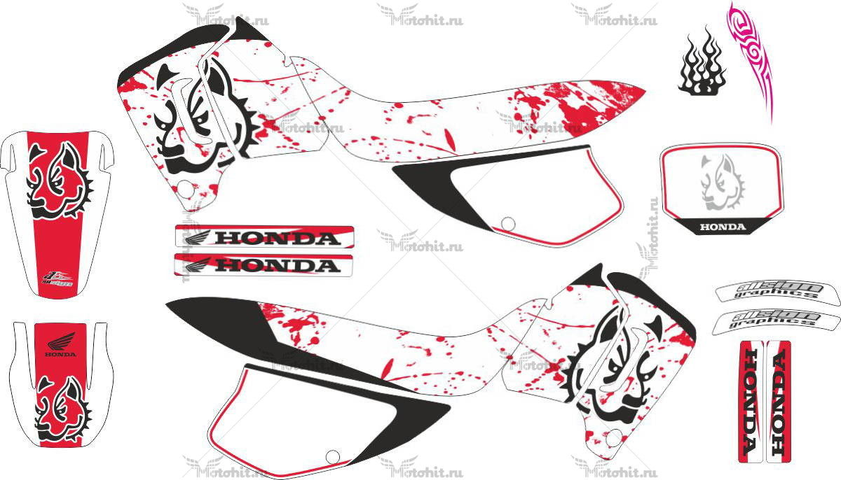 Комплект наклеек Honda XR-200 PITBULL