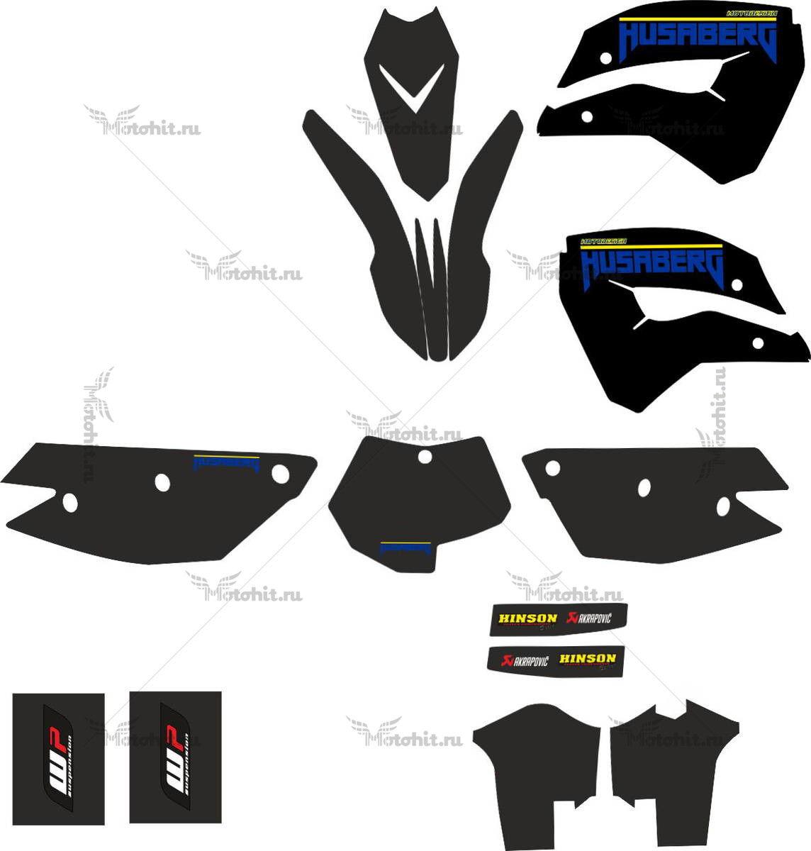 Комплект наклеек HUSABERG-FE-450 2009 BLACK