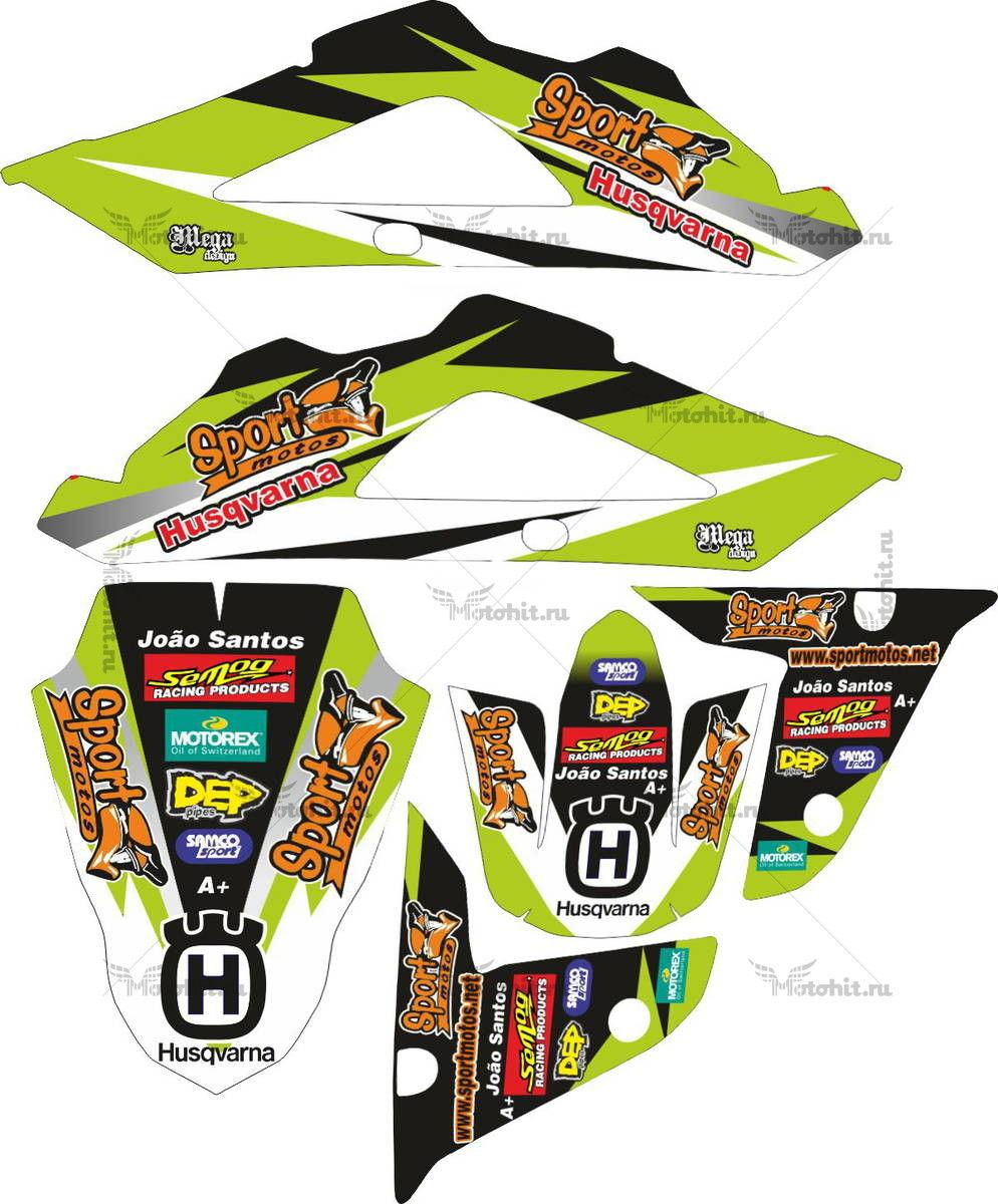Комплект наклеек HUSQVARNA TXC-450 2009 SPORT-MOTO-GREEN