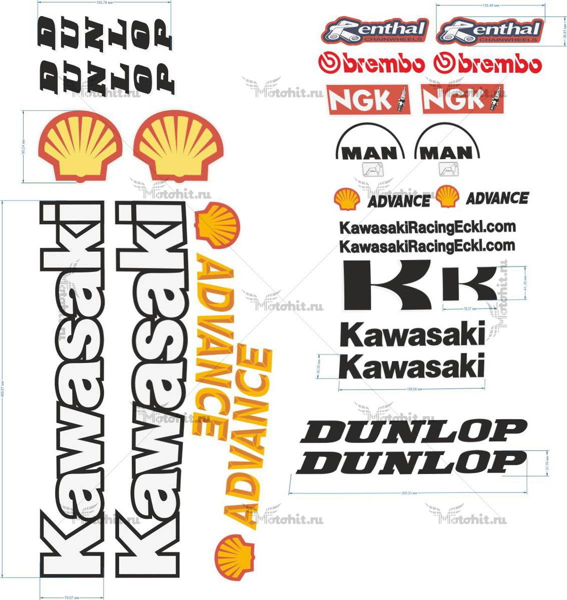 Комплект наклеек Kawasaki WSB 1999