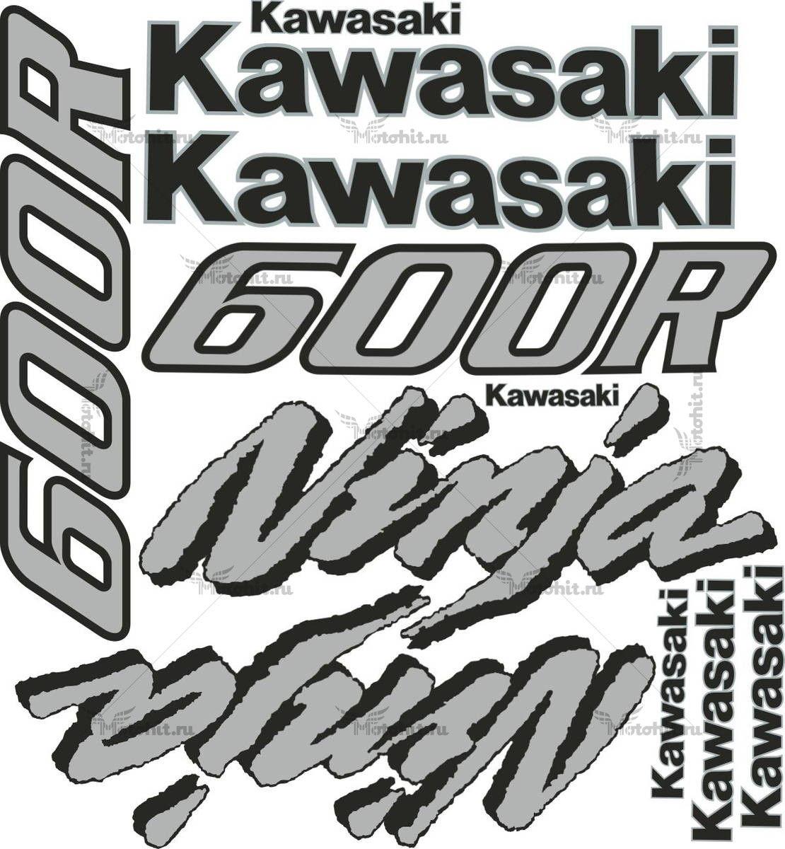 Комплект наклеек Kawasaki GPX-600-R