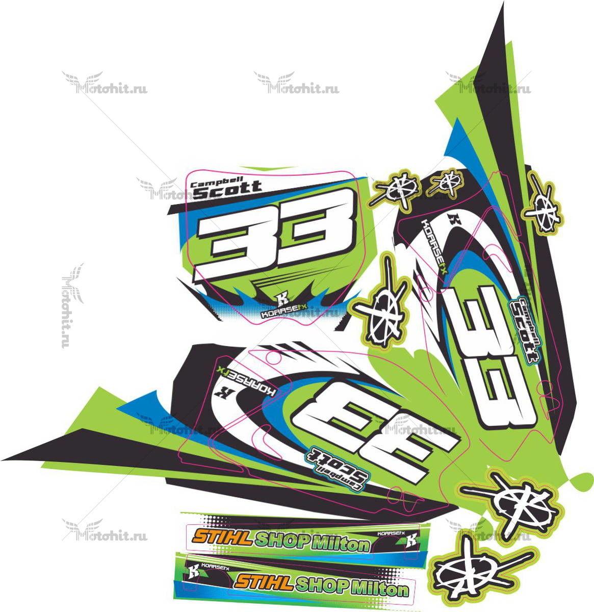 Комплект наклеек Kawasaki KX-125 KX-250 2008 CAMPBELL