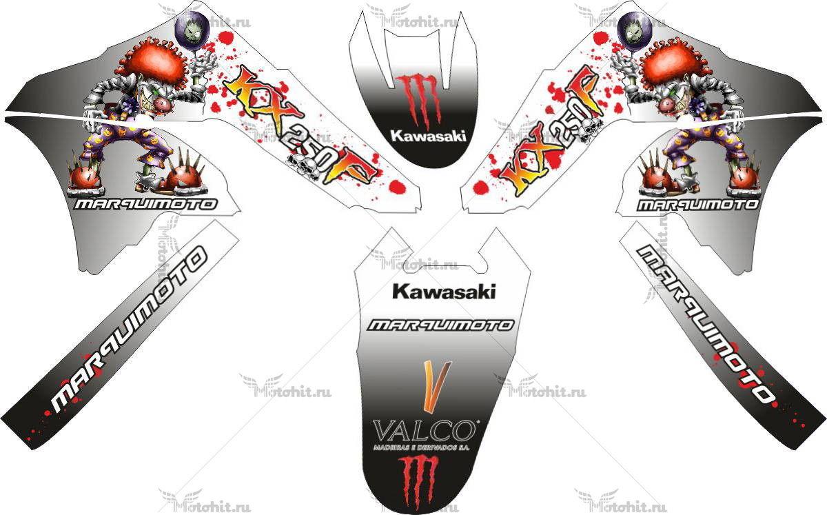 Комплект наклеек Kawasaki KX-250-F MARQUIMOTO