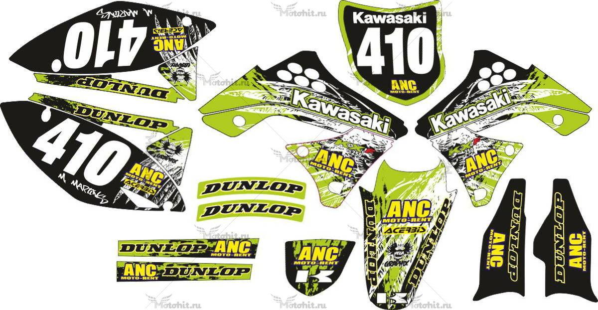 Комплект наклеек Kawasaki KXF-250 DUNLOP