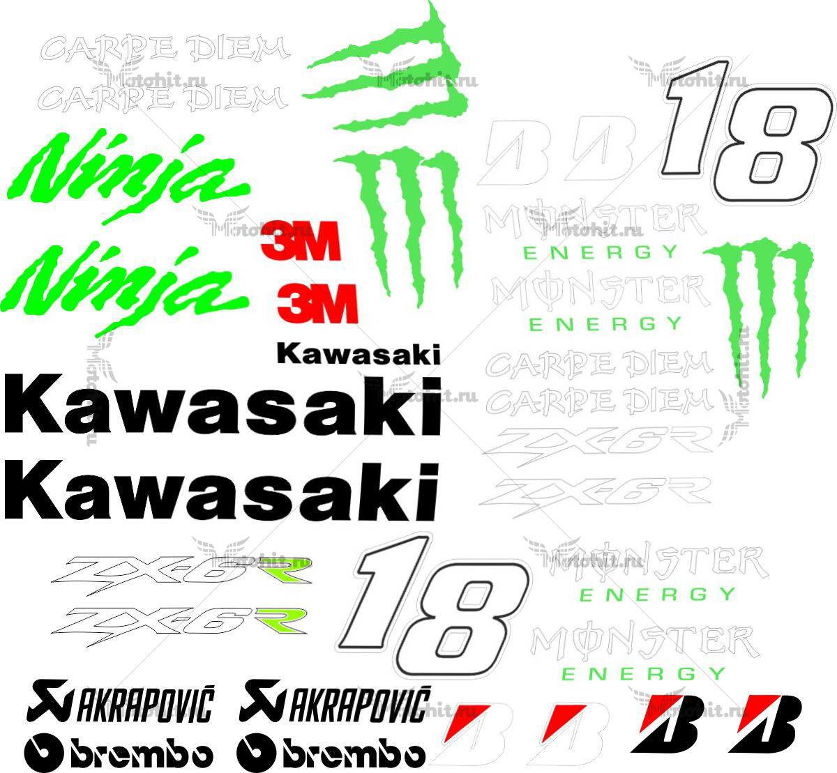 Комплект наклеек Kawasaki ZX-6-NINJA-MOSTER