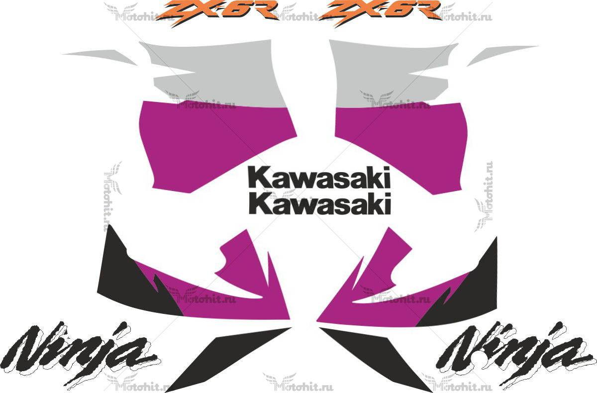 Комплект наклеек Kawasaki ZX-6R 1998-2