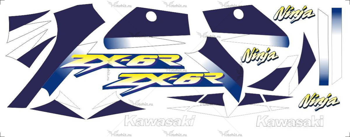 Комплект наклеек Kawasaki ZX-6R 2001