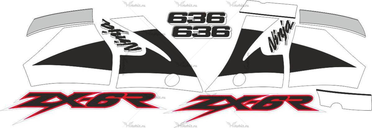 Комплект наклеек Kawasaki ZX-6R 2001-2002