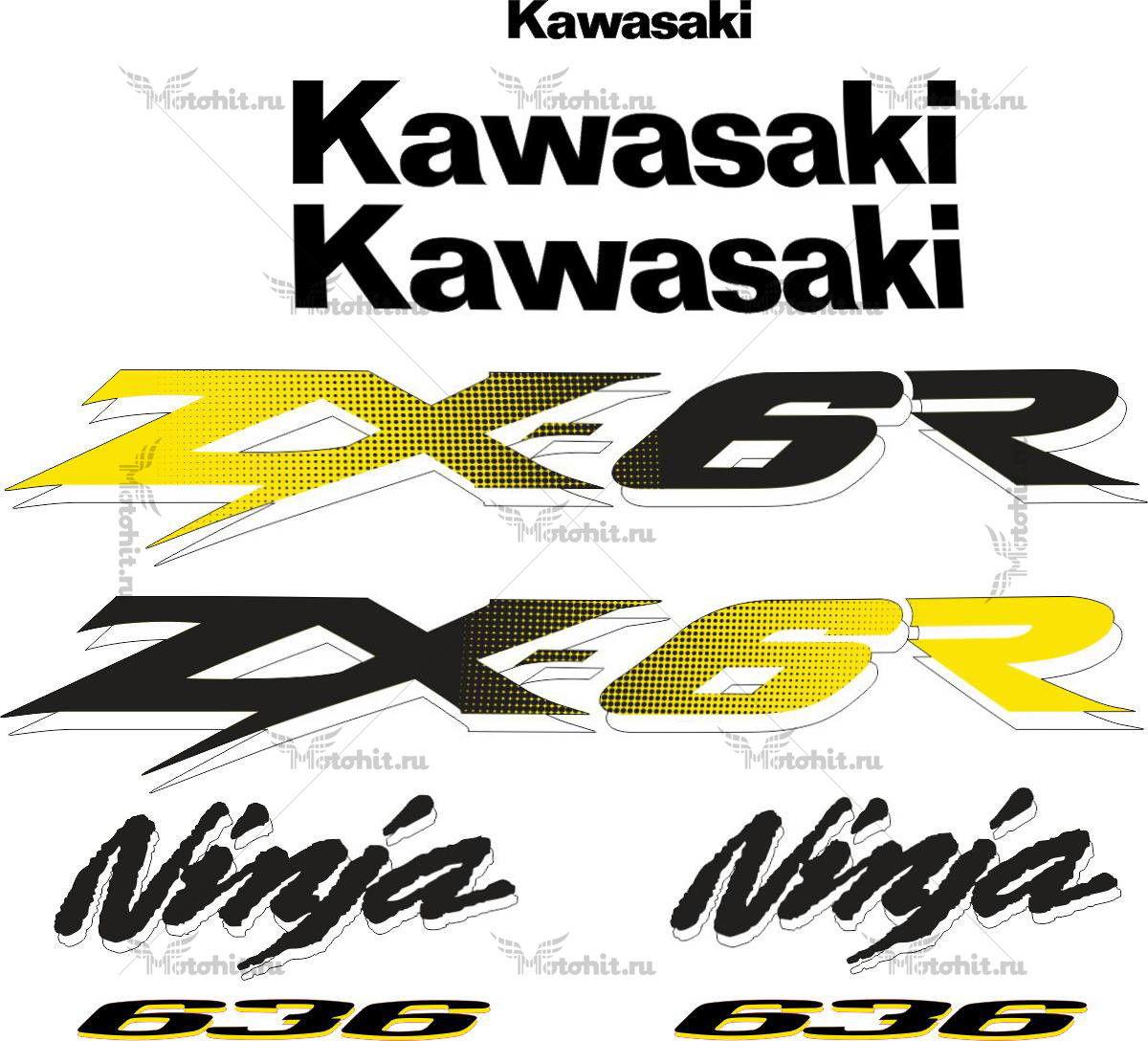 Комплект наклеек Kawasaki ZX-6R 2003-2004
