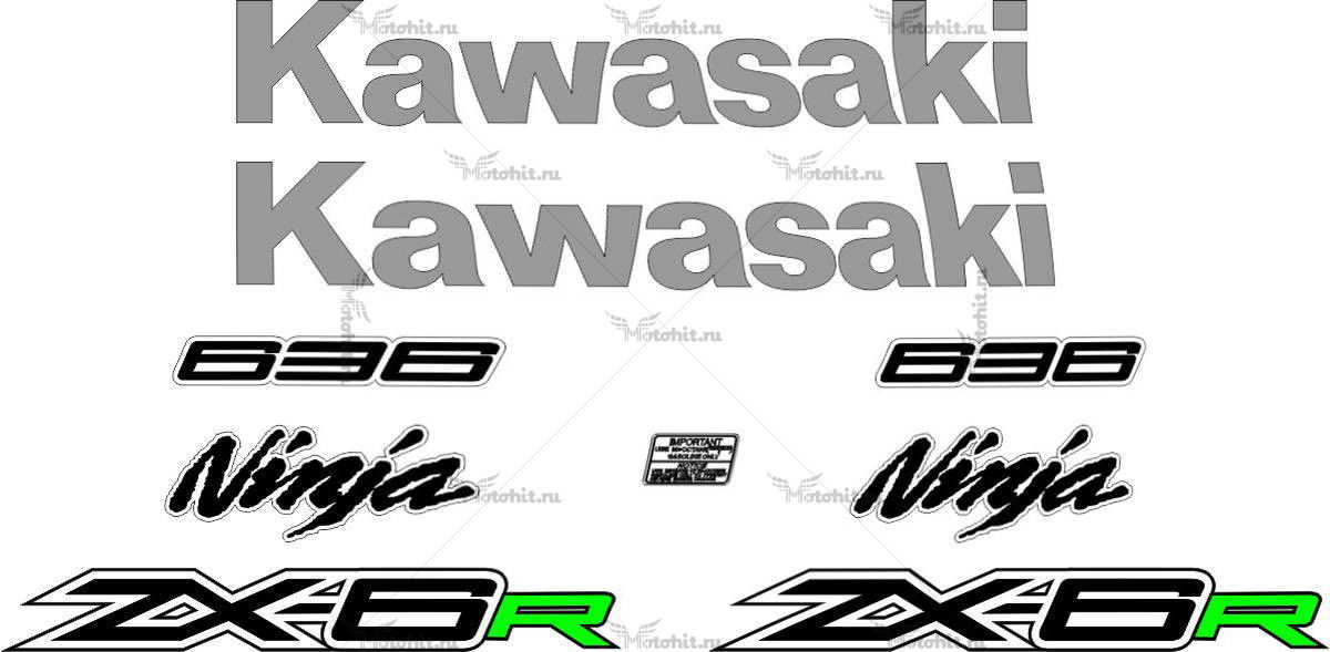 Комплект наклеек Kawasaki ZX-6R 2015 2-COLOR
