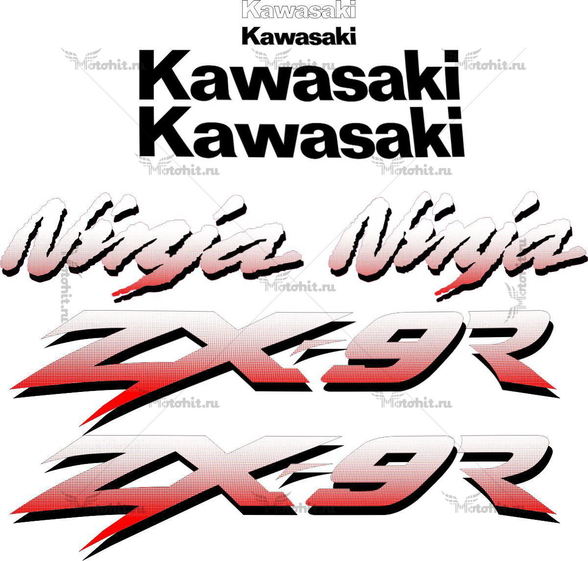 Комплект наклеек Kawasaki ZX-9R 2001