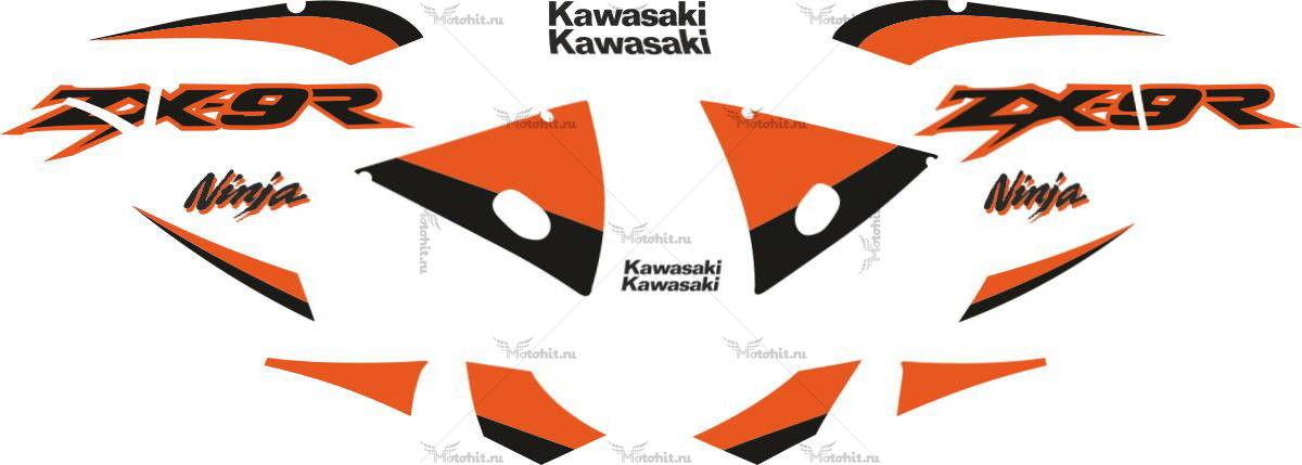 Комплект наклеек Kawasaki ZX-9R 2002 ORANGE