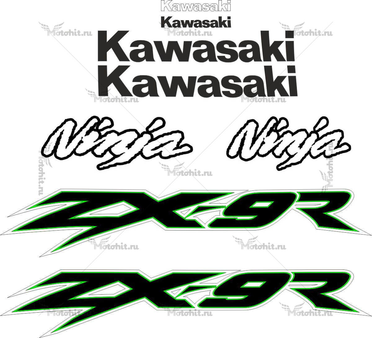 Комплект наклеек Kawasaki ZX-9R 2002 TXT