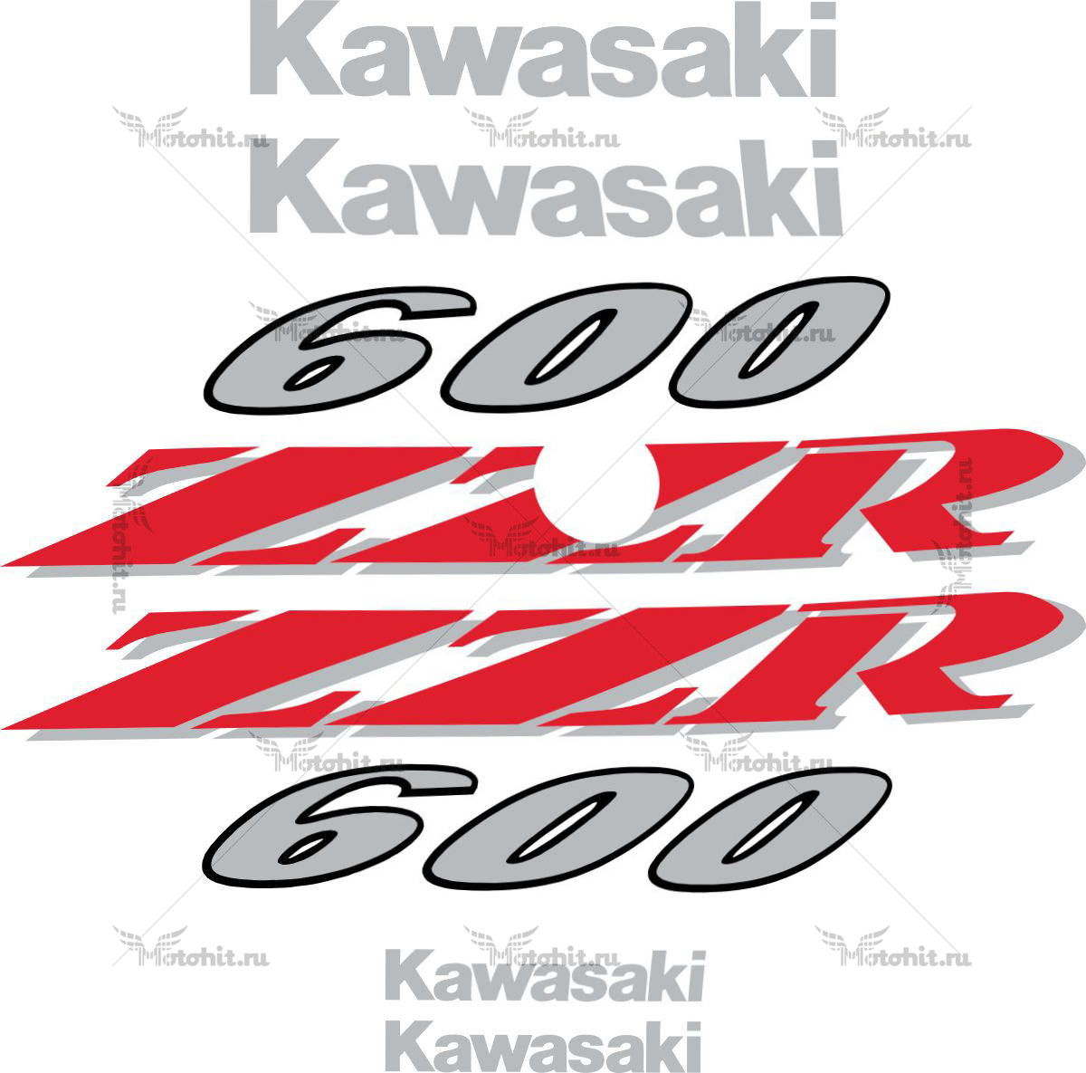 Комплект наклеек Kawasaki ZZR-600 1995-2004