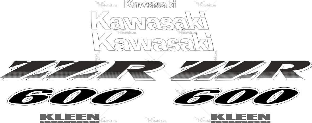 Комплект наклеек Kawasaki ZZR-600 1998-2004