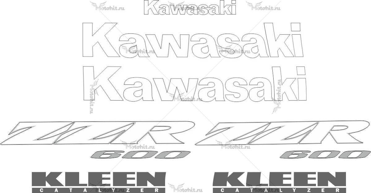 Комплект наклеек Kawasaki ZZR-600 2004-2009