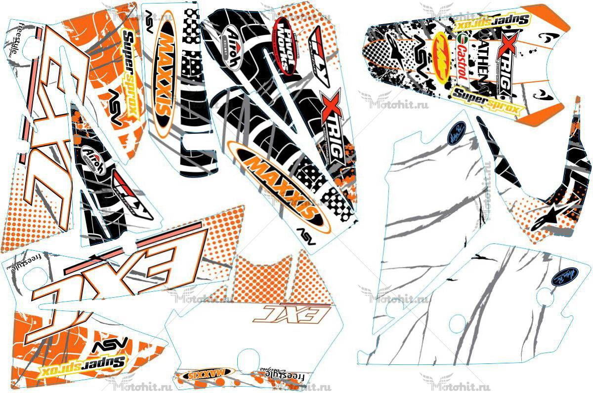 Комплект наклеек KTM EXC 2005-2007 MAXXIS5-WHITE