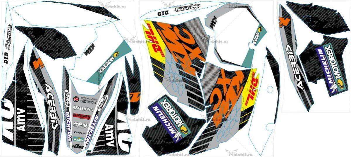 Комплект наклеек KTM EXC 2008-2011 DHL1-CARBON