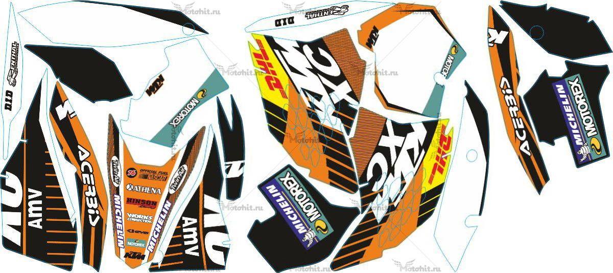 Комплект наклеек KTM EXC 2008-2011 DHL1-WHITE