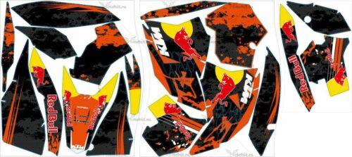 Комплект наклеек KTM EXC 2008-2011 REDBULL4-BLACK