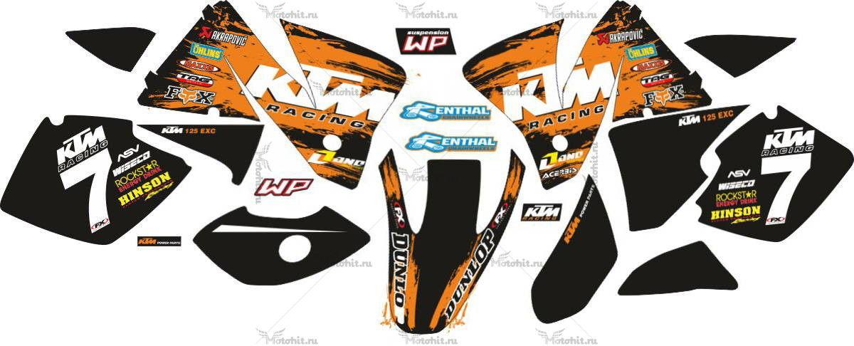 Комплект наклеек KTM EXC-125 2005-2007 RACING