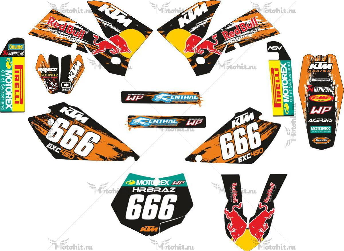 Комплект наклеек KTM EXC-450-666 2005-2007
