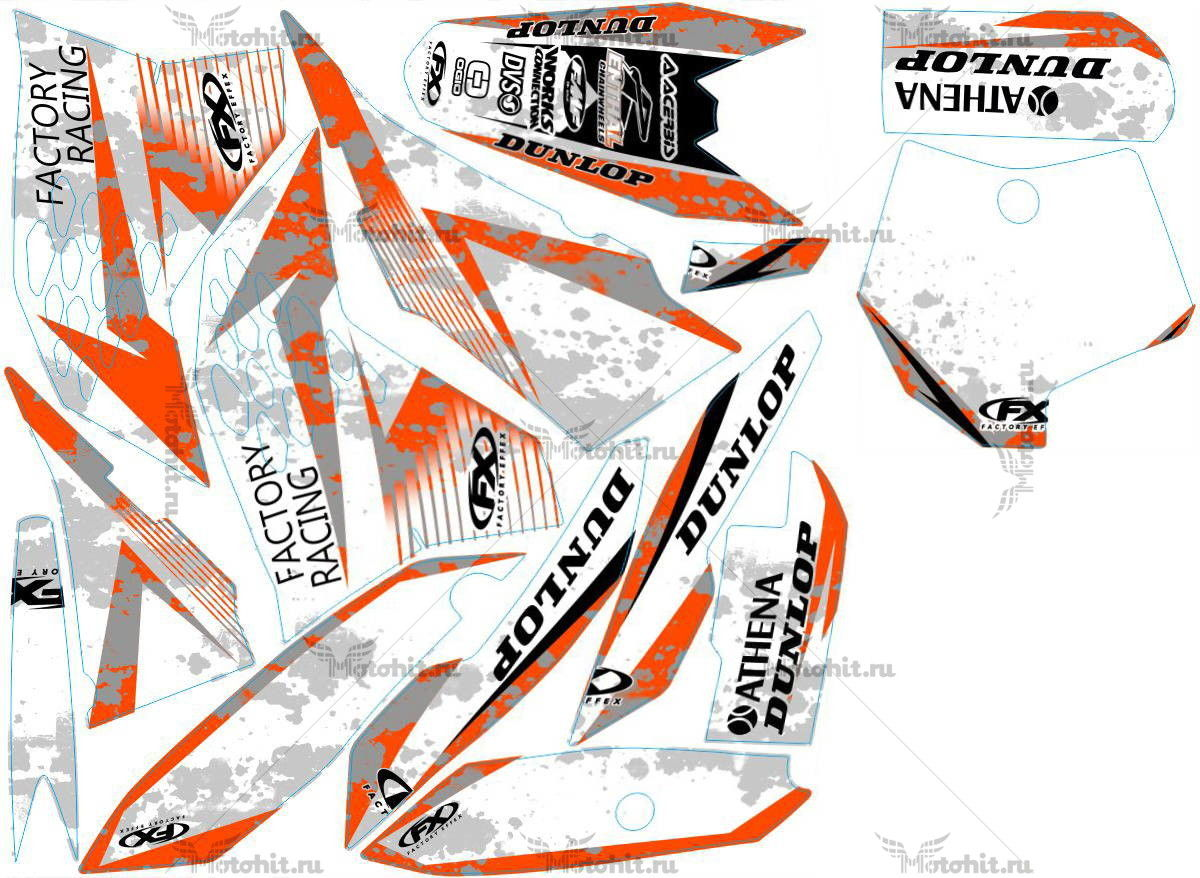 Комплект наклеек KTM SX-65 2009-2012 FACTORY1-WHITE