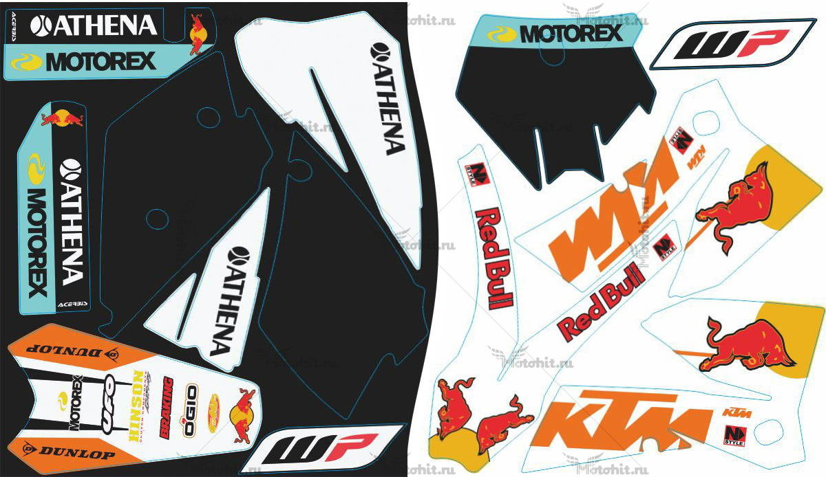 Комплект наклеек KTM SX-125 REDBULL2-BLACK