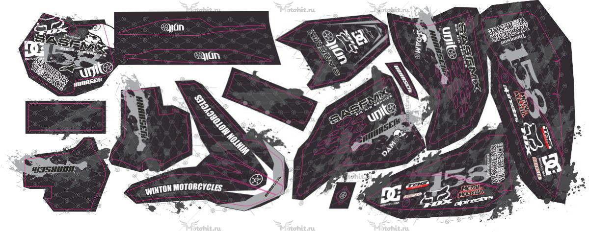 Комплект наклеек KTM SX-250 2008 DAMOS
