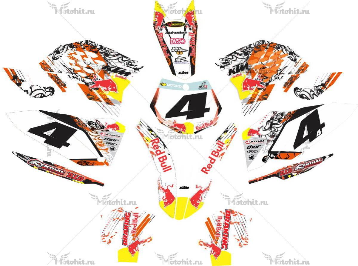 Комплект наклеек KTM SXF 2007-2010 REDBULL-BALTAS