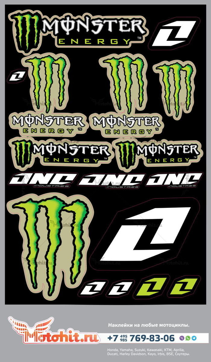 Лист наклеек MONSTER ENERGY ONE IND