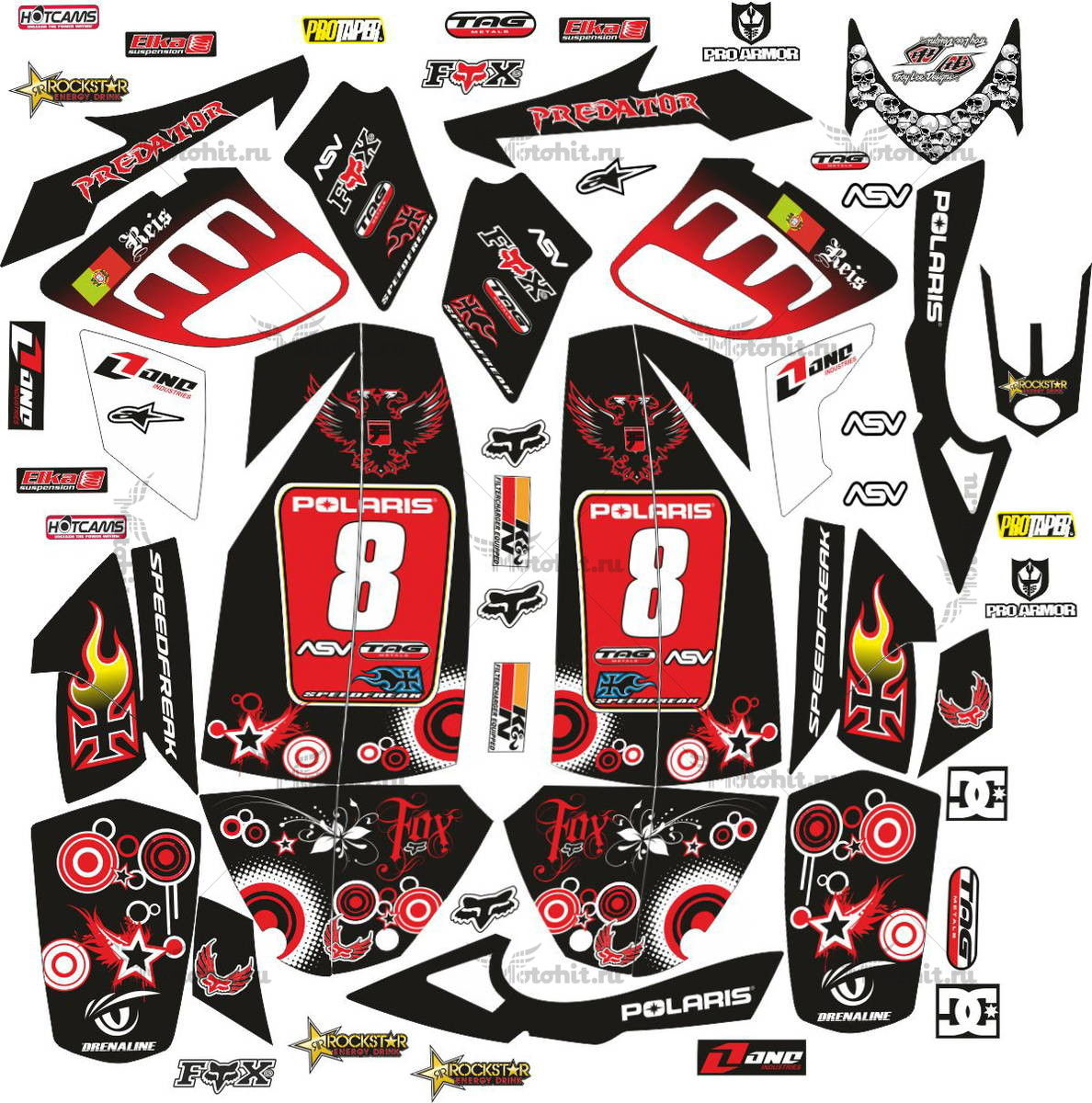 Комплект наклеек POLARIS PREDATOR-500 BLACK-RED