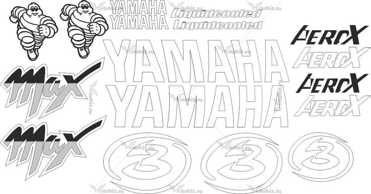 Комплект наклеек Yamaha AEROX-MAX-BIAGGI