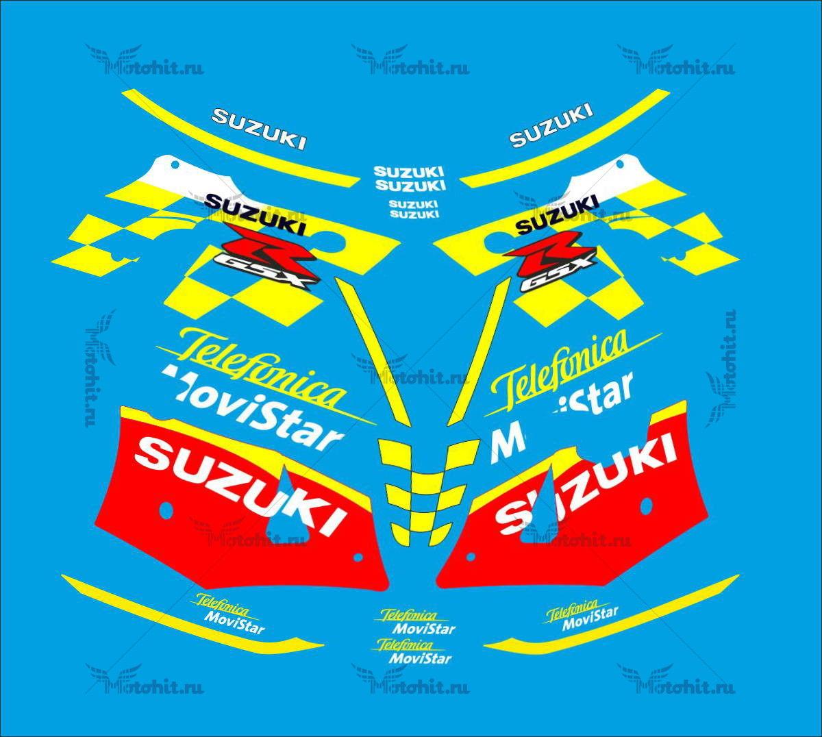 Комплект наклеек SUZUKI GSX-R-600 2002-2003 MOVISTAR