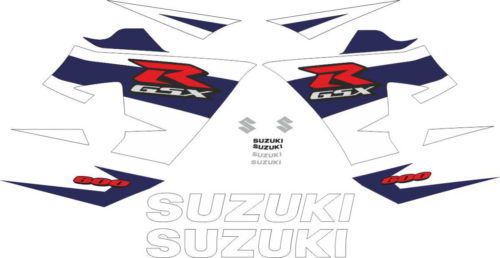 Комплект наклеек SUZUKI GSX-R-600 2004-2005 WHITE-BLUE