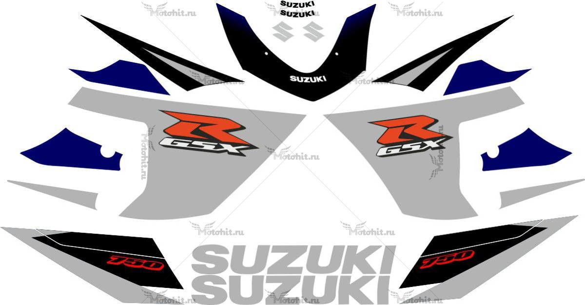 Комплект наклеек SUZUKI GSX-R-600 2005 SILVER-BLACK