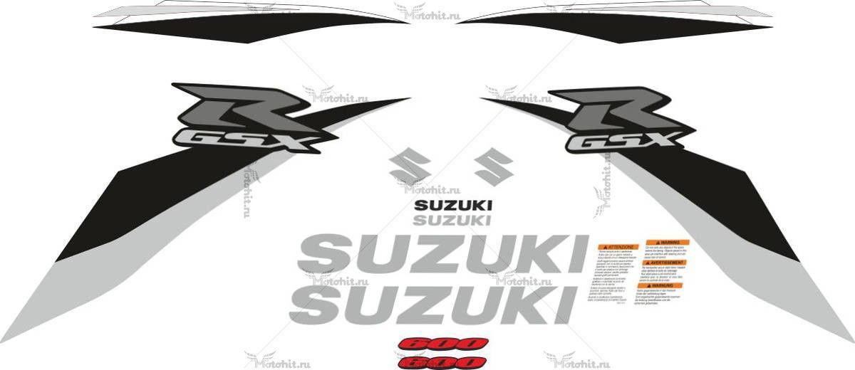 Комплект наклеек SUZUKI GSX-R-600 2008-2010 SILVER
