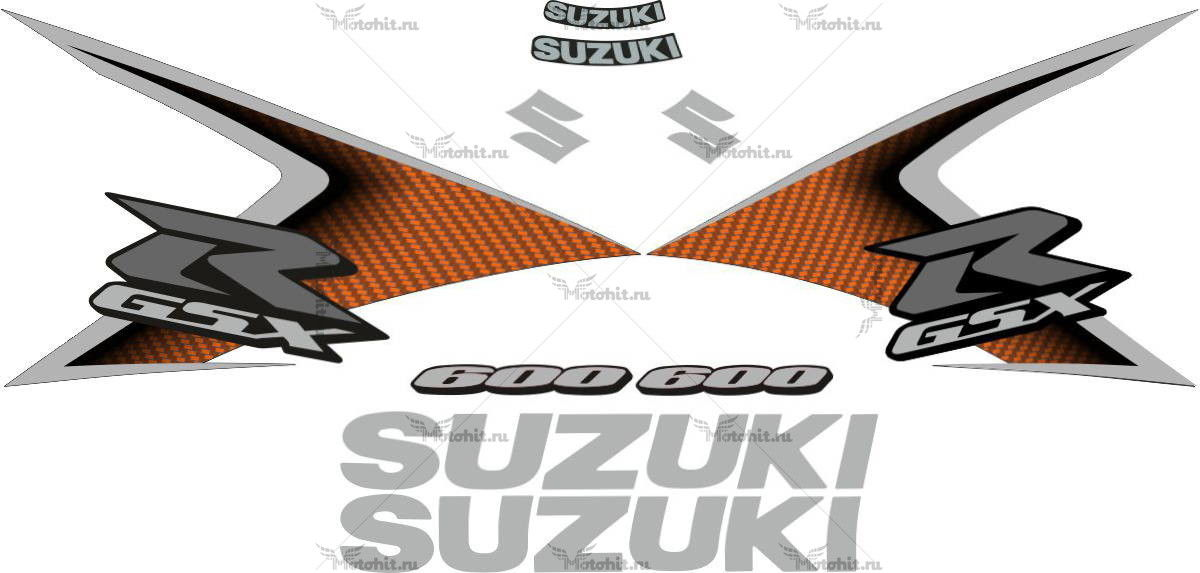 Комплект наклеек SUZUKI GSX-R-600 2008 ORANGE