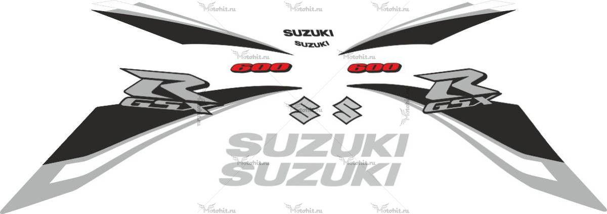 Комплект наклеек SUZUKI GSX-R-600 2009 SILVER