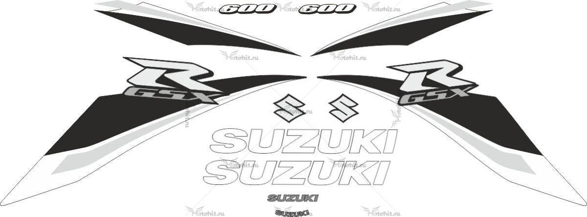 Комплект наклеек SUZUKI GSX-R-600 2009 WHITE