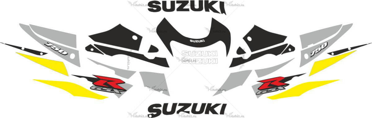 Комплект наклеек SUZUKI GSX-R-750 2001 BLACK
