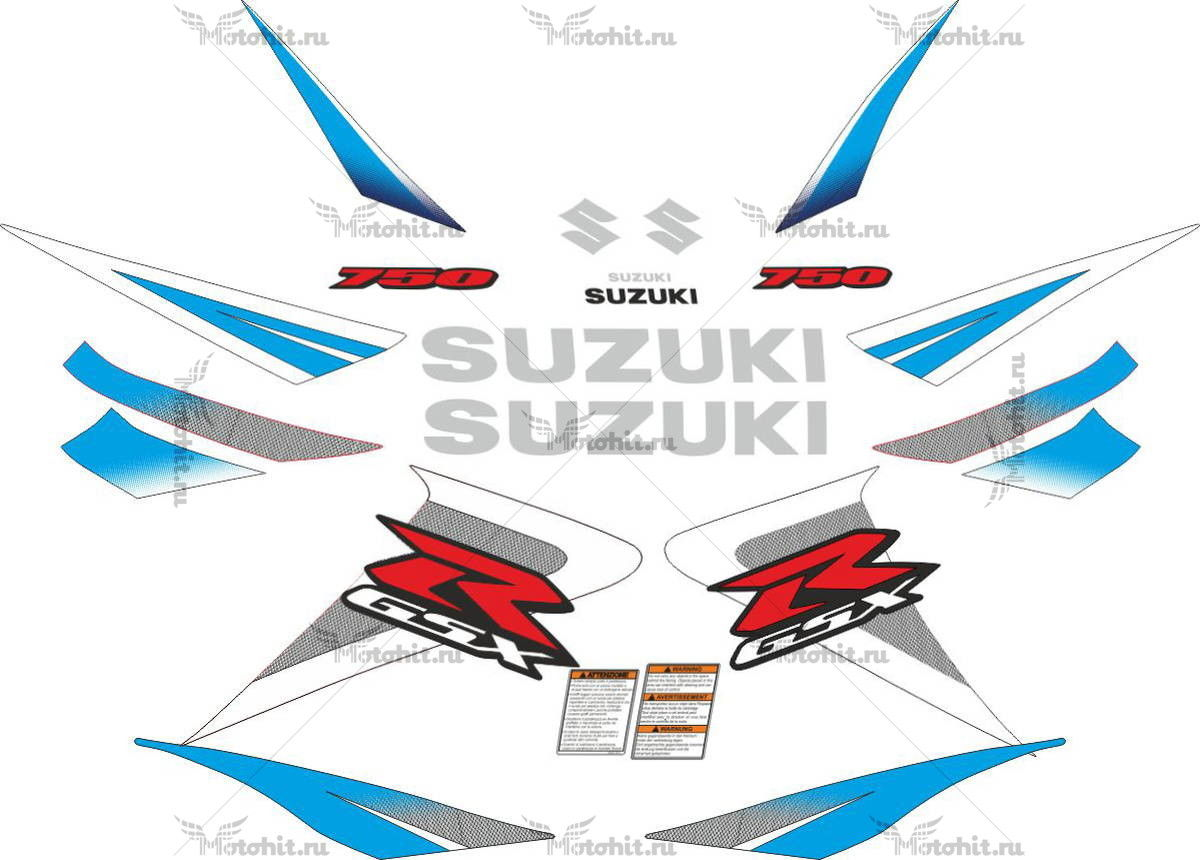 Комплект наклеек SUZUKI GSX-R-750 2006-2007 WHITE-BLUE