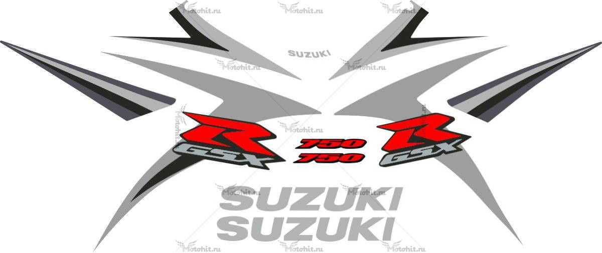 Комплект наклеек SUZUKI GSX-R-750 2007 SILVER