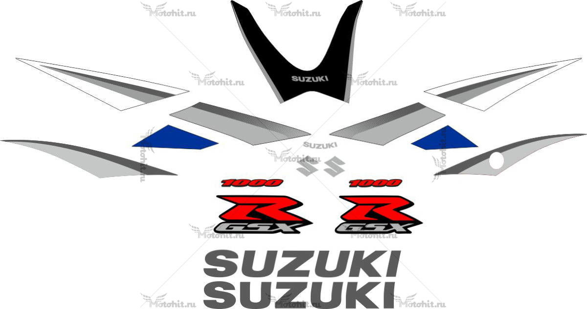 Комплект наклеек SUZUKI GSX-R-1000 2005-2006 SILVER-BLUE