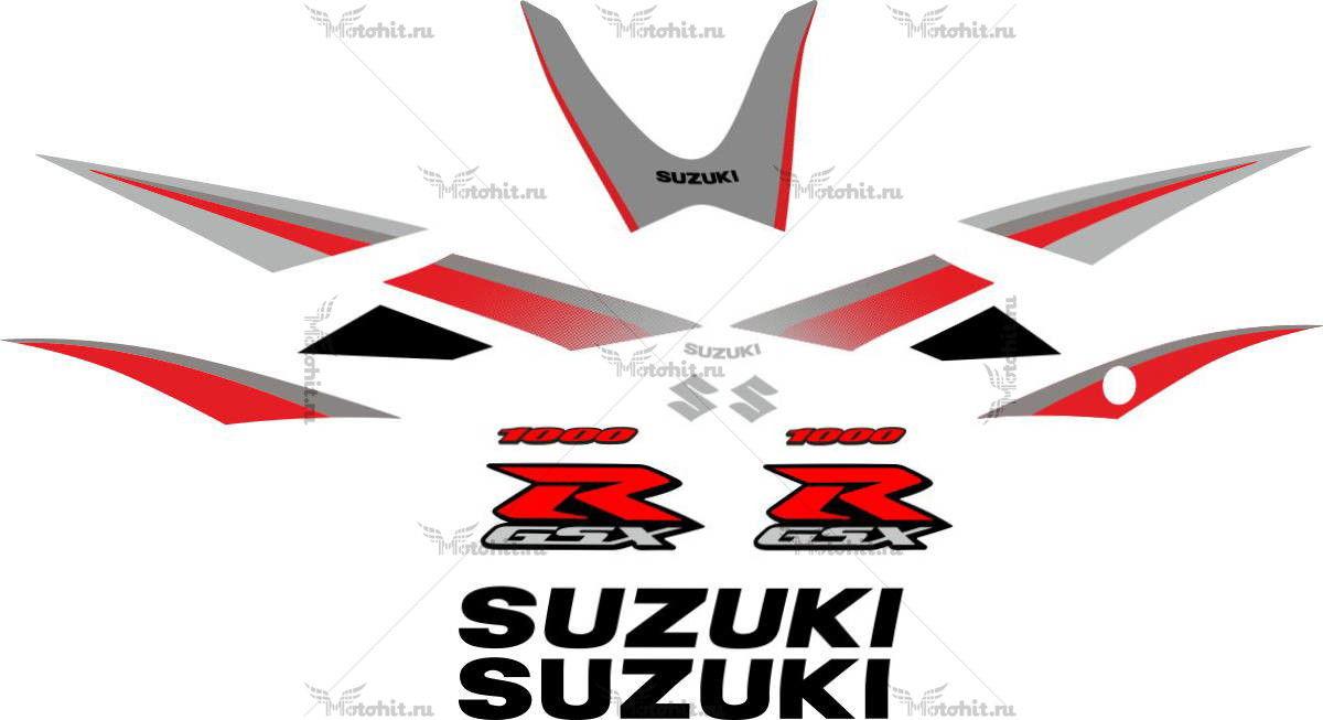 Комплект наклеек SUZUKI GSX-R-1000 2005-2006 SILVER-RED