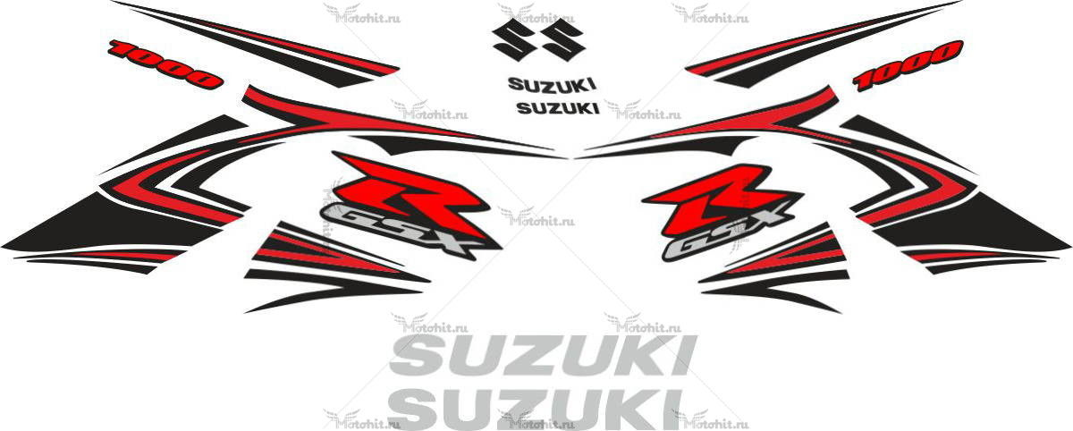 Комплект наклеек SUZUKI GSX-R-1000 2007-2008 BLACK-ORANGE
