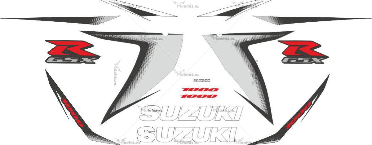 Комплект наклеек SUZUKI GSX-R-1000 2008 SILVER