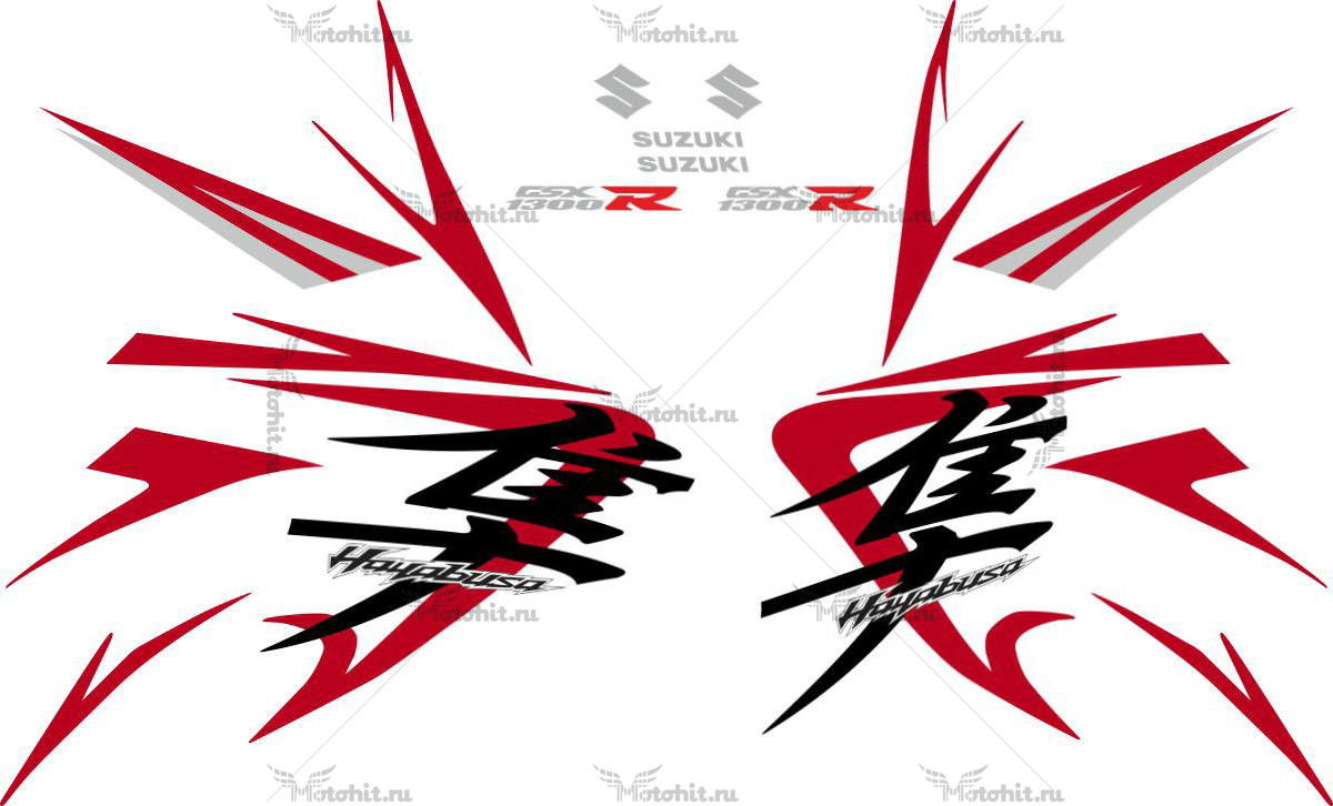 Комплект наклеек SUZUKI GSX-R-1300 HAYABUSA 2008-2009 FOR-WHITE-SILVER