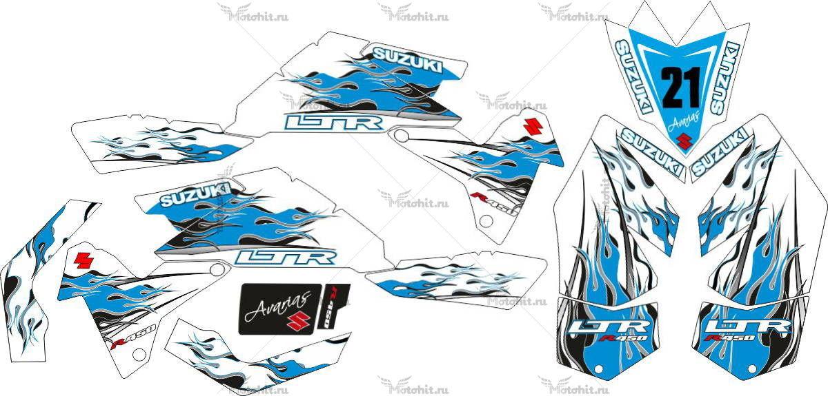 Комплект наклеек SUZUKI LTR-450 KIT-BLUE-WHITE